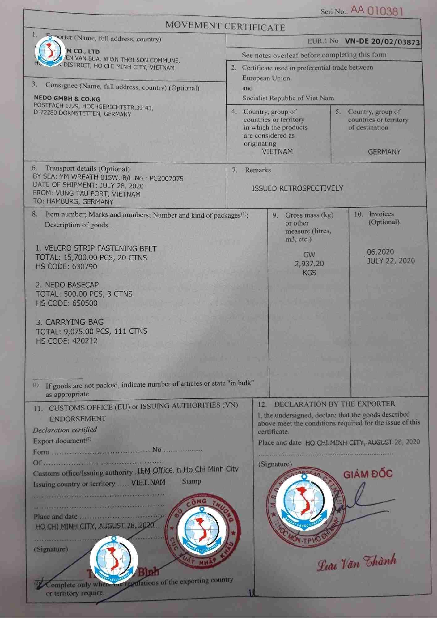 Form EUR1 da duoc cap